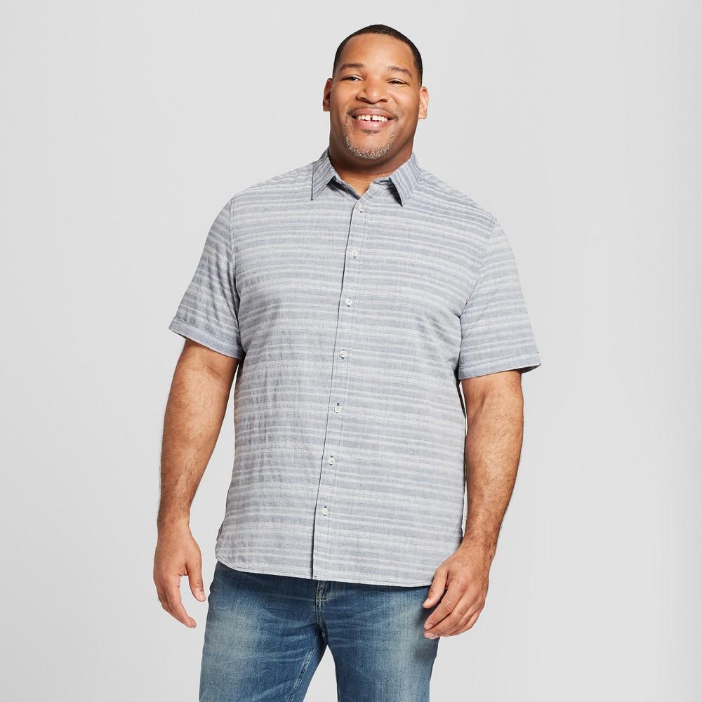 Men's Tall Short Sleeve Novelty Button-Down Shirt - Goodfellow & Co Horizon Blue Xlt