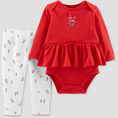 About this item - Baby Girls' 2pc Peplum Christmas Set - Little Plane : Target