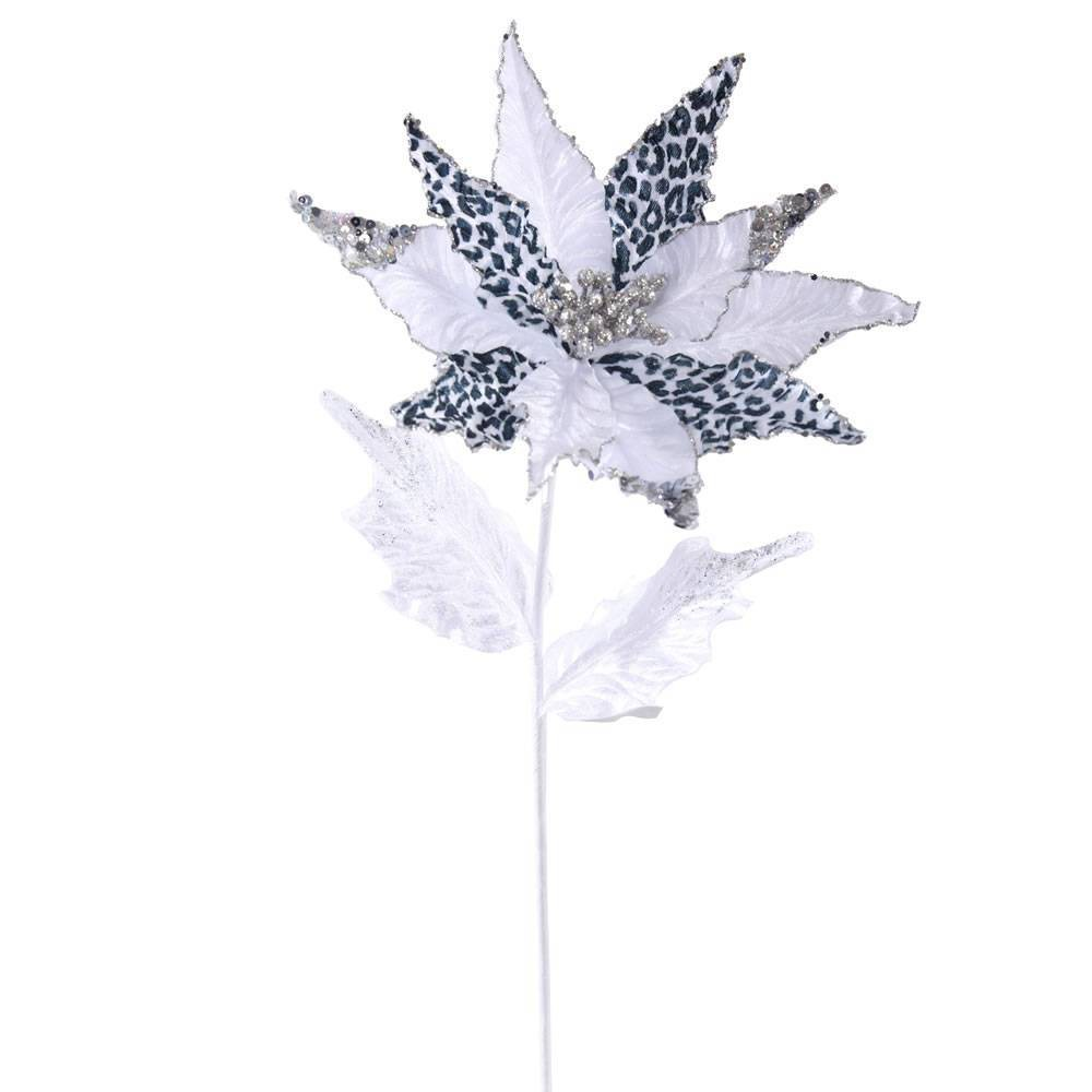 "Image of ""21"""" - Leopard Poinsettia 11"""" Flower- Black/White"""