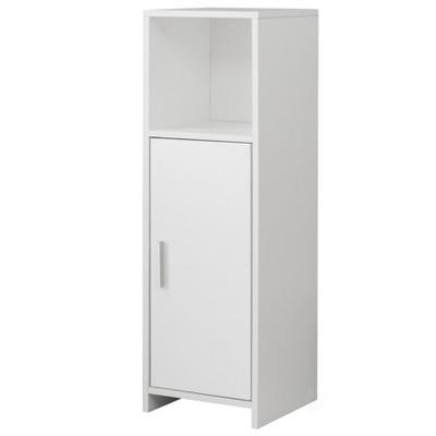 Basicwise Wooden Home Tall Freestanding Bathroom Vanity linen Tower Organizer Cabinet, White
