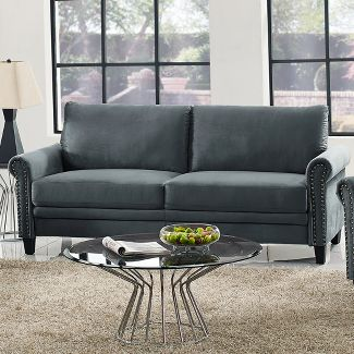 Averton Microfiber Upholstery Sofa with Nailhead Trimming in Dark Gray - Lifestyle Solutions