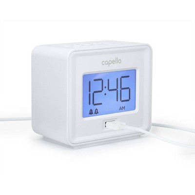 Capello - Dual Alarm Clock with USB Phone Charger - White