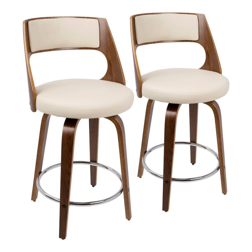 Set of 2 Cecina Mid Century Modern Counter Stool with Swivel Faux Leather Walnut/Cream (Brown/Ivory) - LumiSource
