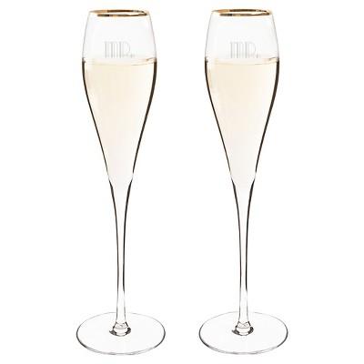 2ct Mr. & Mr. Gatsby Gold Rim Champagne Flutes