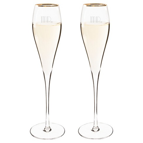 2ct Mr. & Mr. Gatsby Gold Rim Champagne Flutes - image 1 of 4