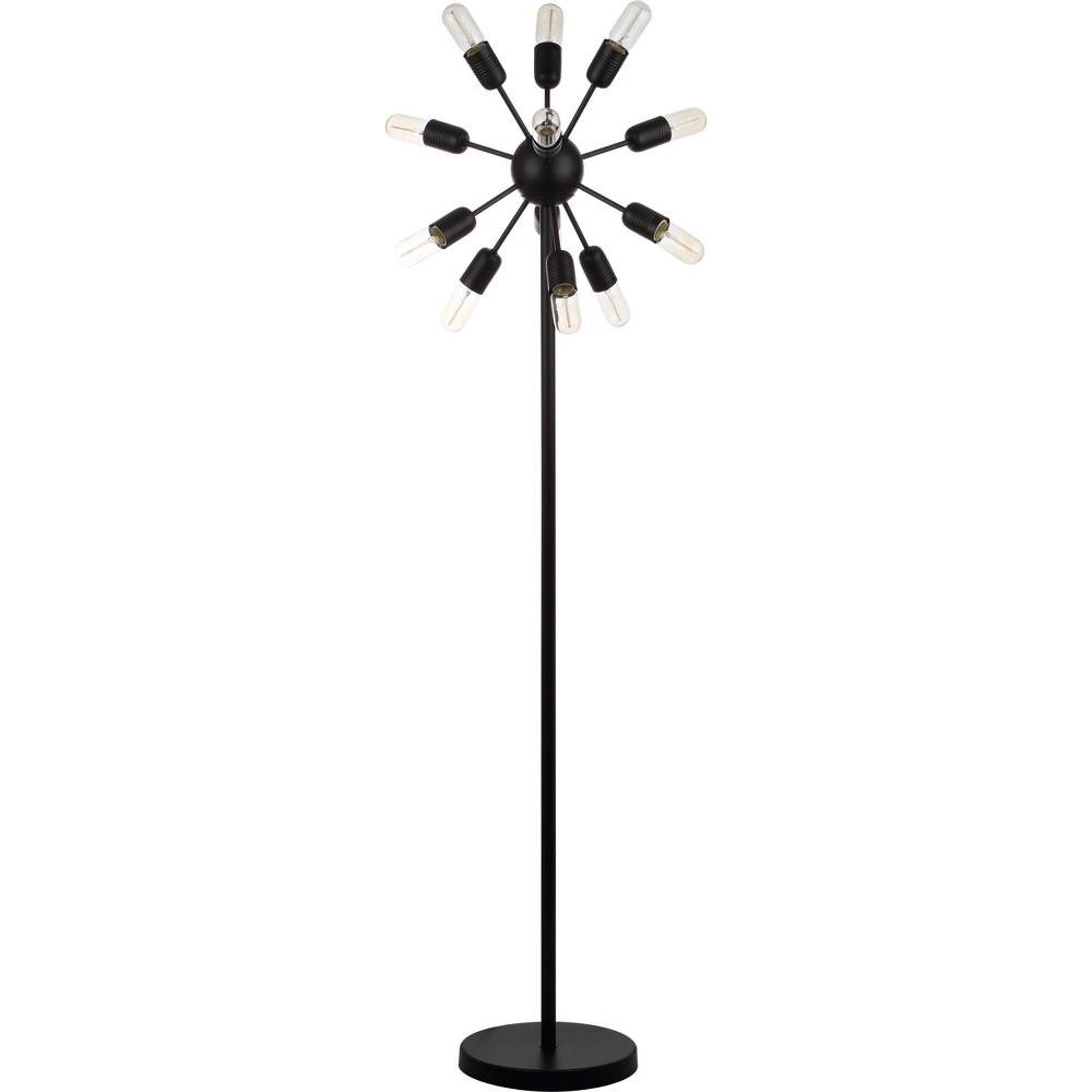 Urban 12 Light 67.5Inch H Retro Floor Lamp Black (Includes Light Bulb) - Safavieh