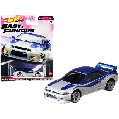 "Nissan Skyline GT-R (BCNR33) Silver and Blue ""Fast & Furious"" Diecast Model Car by Hot Wheels"