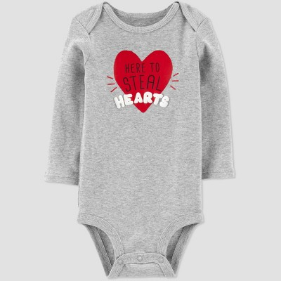 Baby Girls' 'Here To Steal Hearts' Bodysuit - Just One You® made by carter's Gray 3M