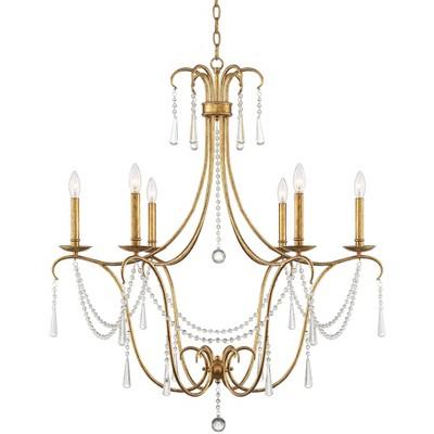 """Possini Euro Design Possini Euro Charlotte 35"""" Wide Gold Leaf 6-Light Chandelier"""