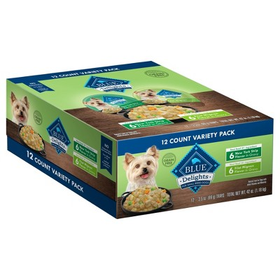 Blue Buffalo Divine Delights In Hearty Gravy New York Strip & Filet Mignon Flavors Wet Dog Food - 3.5oz/12ct Variety Pack