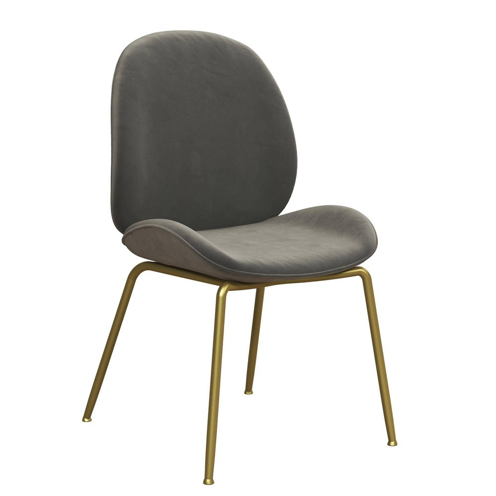 Image of Astor Velvet Dining Chair Light Gray - CosmoLiving by Cosmopolitan