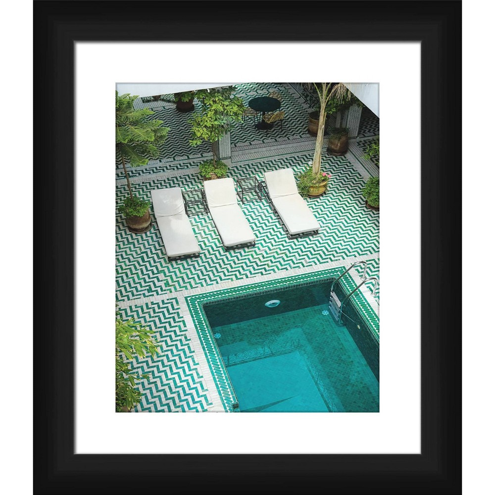 15 34 X 13 34 Matted To 2 34 By The Pool Picture Framed Black Ptm Images