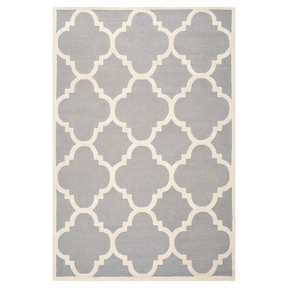 Landon Texture Wool Rug - Silver / Ivory (6' X 9') - Safavieh, Silver/Ivory