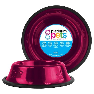 Platinum Pets Embossed Non-Tip Cat/Dog Bowl - Raspberry Pop - .75 Cup