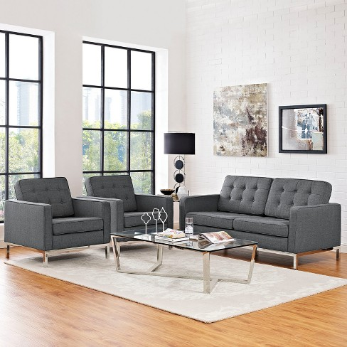 Set Of 3 Love Seat Accent Chairs Loft Living Room Set Upholstered