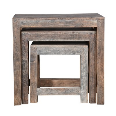 Set of 3 Rustic Rectangular Farmhouse Mango Wood Nesting Tables with X Side Panels Brown - The Urban Port