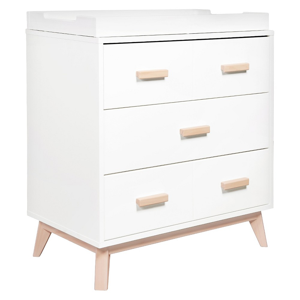 Babyletto Scoot 3-Drawer Changer Dresser - White/Washed Natural