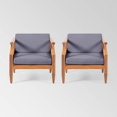 Aston 2pk Acacia Wood Mid-Century Modern Club Chair - Christopher Knight Home