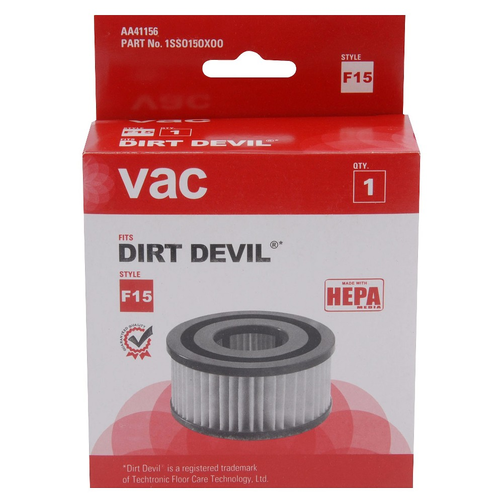 Dirt Devil F15 Vacuum Cleaner Filter Keep your Dirt Devil working right with a Dirt Devil F15 Vacuum Cleaner Filter. This vacuum filter is a pleated Hepa filter that contains activated charcoal. It helps improve indoor air quality while you vacuum by capturing dust, pollen and pet dander—a must-have for people with allergies. The F15 filter is designed to fit both Extreme Quick Vac Uprights and Vibe Quick Vac Uprights. Replace your Dirt Devil F15 filter every 3 to 6 months.