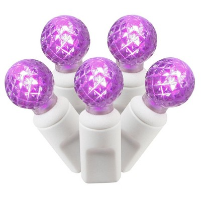 Vickerman 100-Count Purple LED G12 Berry Commercial Grade Christmas Lights Set, 33 ft White Wire