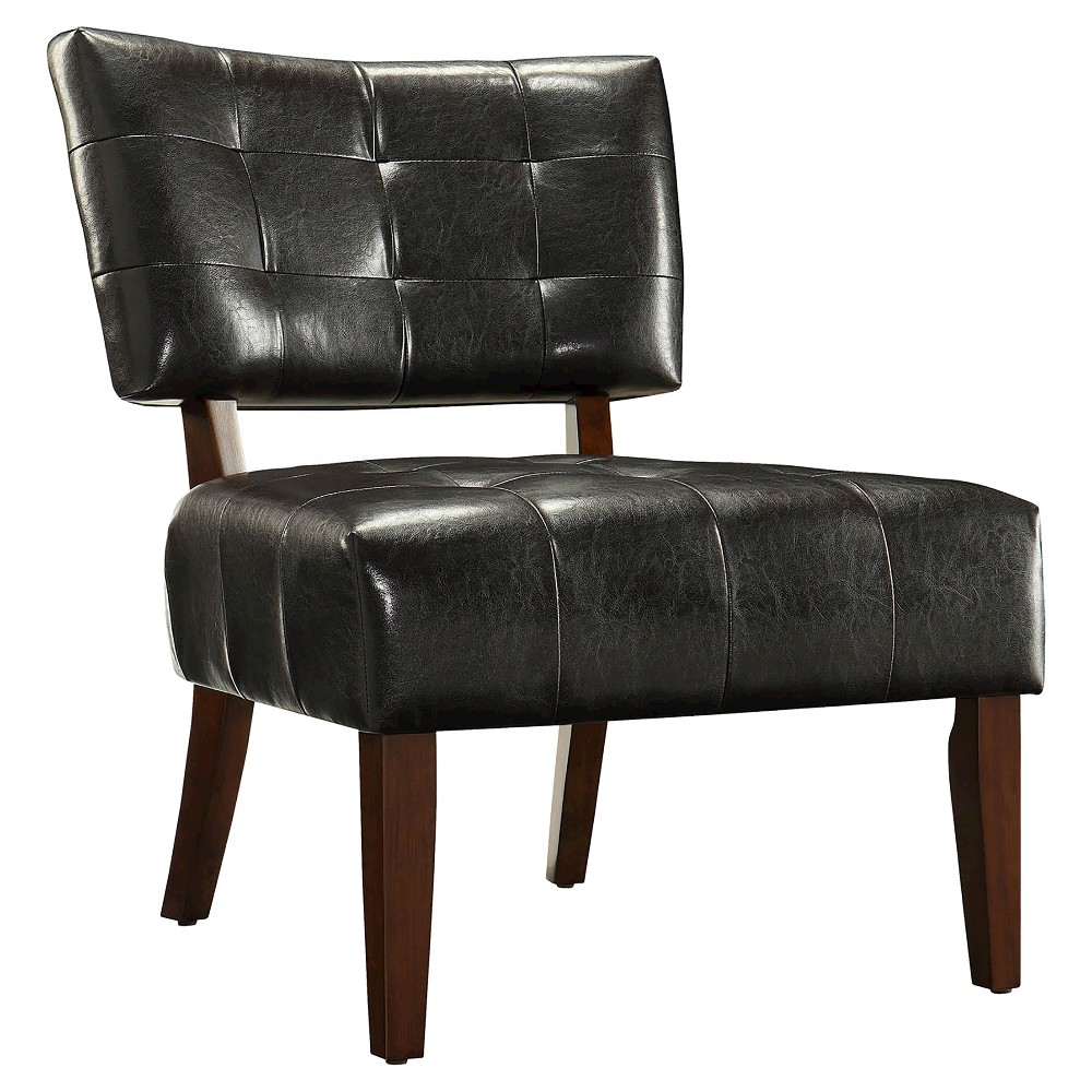 Elizabeth Armless Faux Leather Accent Chair - Dark Brown - Inspire Q