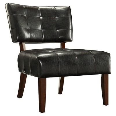 Elizabeth Armless Faux Leather Accent Chair   Dark Brown   Inspire Q :  Target