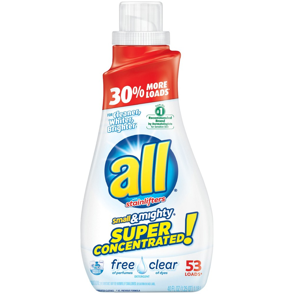 all Small & Mighty Free & Clear HE Concentrated Liquid Laundry Detergent 40oz- 53 loads