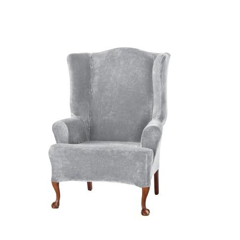 Brilliant Stretch Plush Wing Chair Slipcover Gray Sure Fit Machost Co Dining Chair Design Ideas Machostcouk