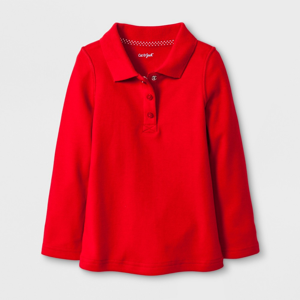 Toddler Girls' Adaptive Long Sleeve Uniform Polo Shirt - Cat & Jack Red 3T