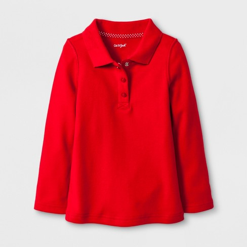 Toddler Girls' Adaptive Long Sleeve Uniform Polo Shirt - Cat & Jack™ Red - image 1 of 1