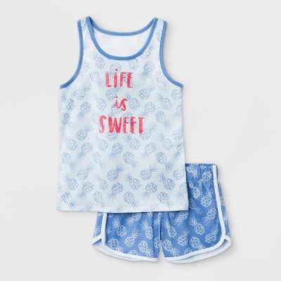 Girls' 2pc Pineapple 'Life Is Sweet' Pajama Set - Cat & Jack™ Blue