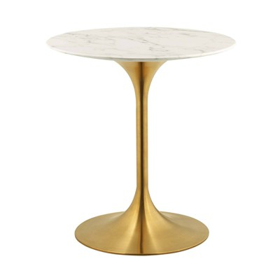 "28"" Lippa Round Artificial Marble Dining Table Gold/White - Modway"