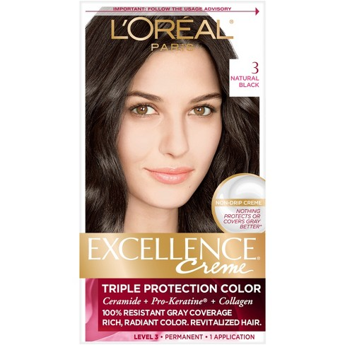 L'Oreal Paris Excellence Creme Triple Protection Color - 3 Natural Black - 1 kit - image 1 of 5