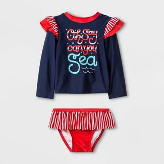 Baby Girl' Long Sleeve 'Oh Say Can You Sea' Rash Guard Set - Cat & Jack™ Navy 18M