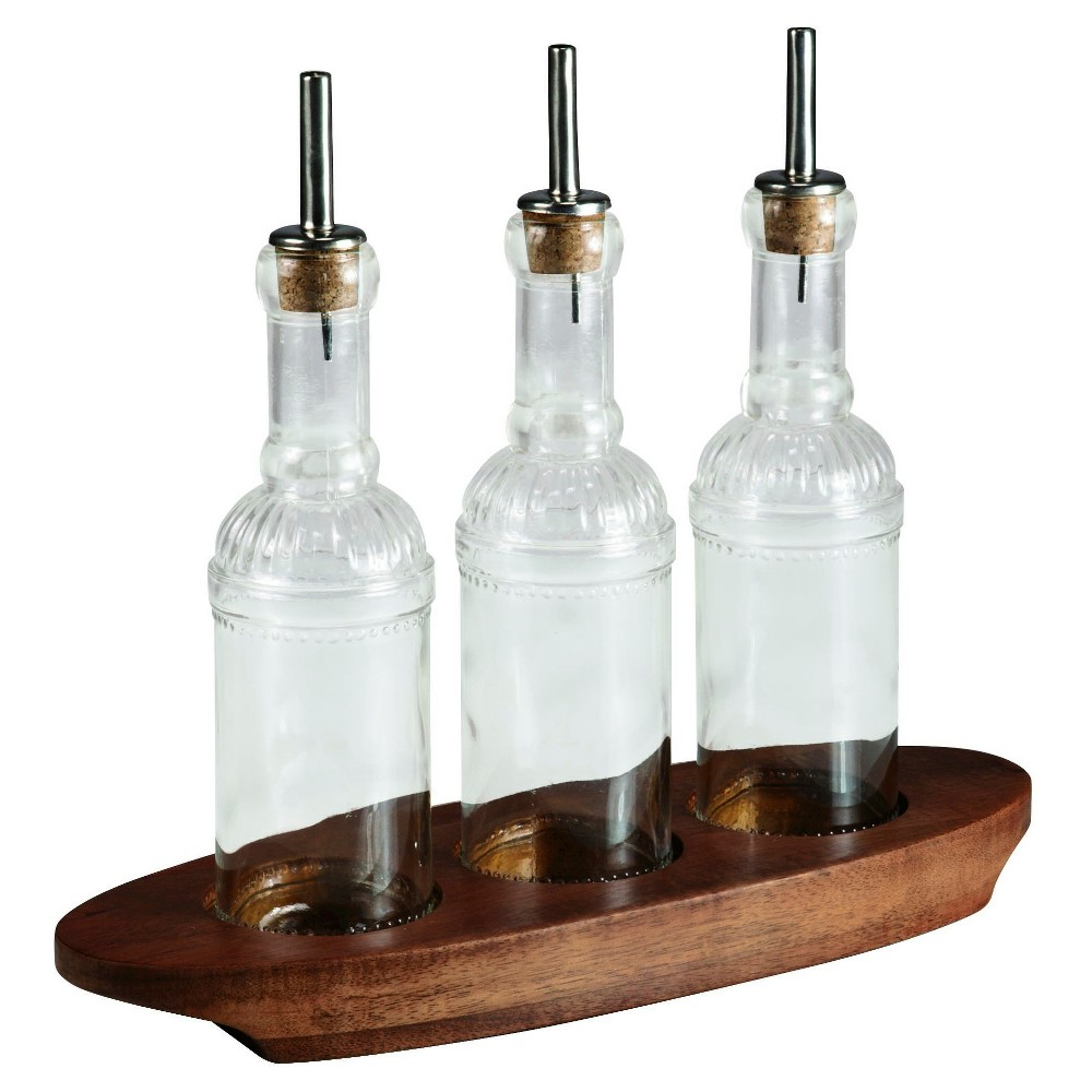 Picnic Time Heritage Collection 4pc Oliera Glass Cruets Set in Tray - Acacia