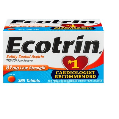 Ecotrin Pain Reliever Low Strength 81mg Tablets - Aspirin (NSAID)- 365ct