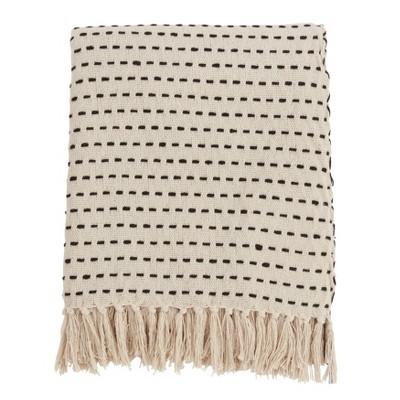 Stitch Line Throw Blanket Ivory - Saro Lifestyle