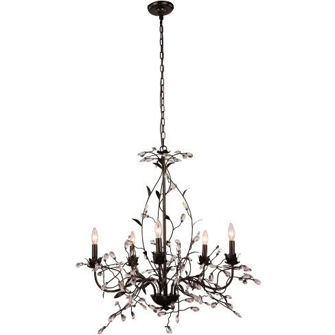 "Elegant Lighting 1222D35 Arbor 5 Light 35"" Wide Crystal Accent Floral Style Chandelier - image 1 of 1"