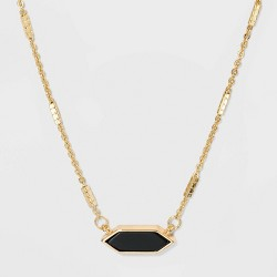 Boxed Hexagon with Semi-Precious Stone Bar Necklace - A New Day™