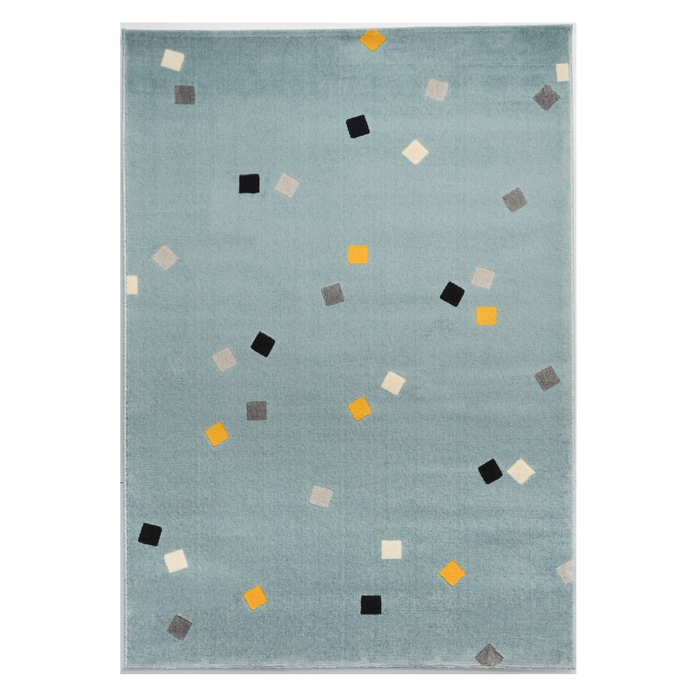 Scattered Blocks Blue Rug (4'x6') - Balta Rugs, Multicolored