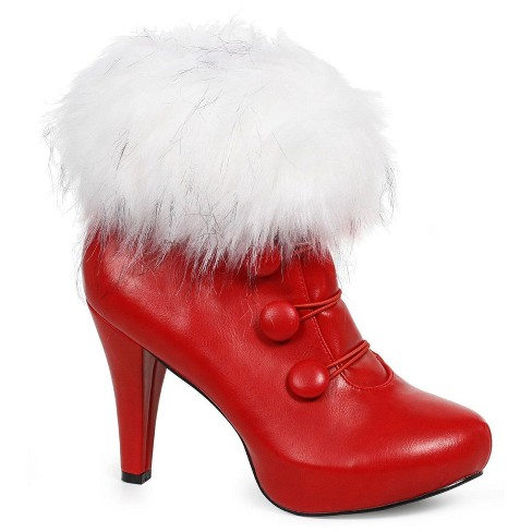 Red Ankle Costume Boots with Faux Fur - image 1 of 1