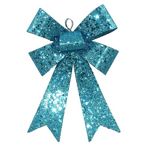 "Vickerman 7"" Sequin and Glitter Bow Christmas Ornament - Turquoise Blue - image 1 of 1"