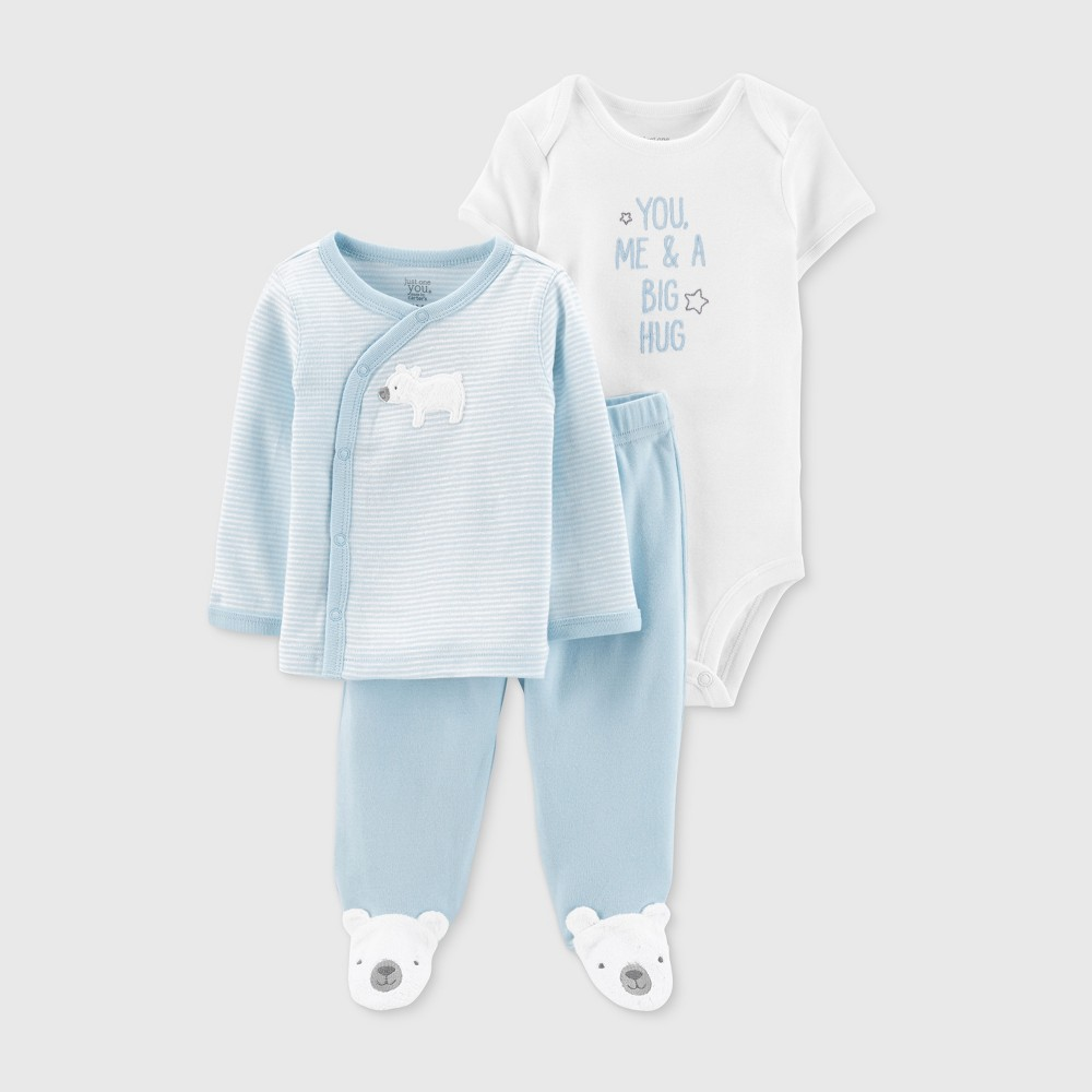 Baby Boys' 3pc Top and Bottom Set - Just One You made by carter's Blue/White 3M