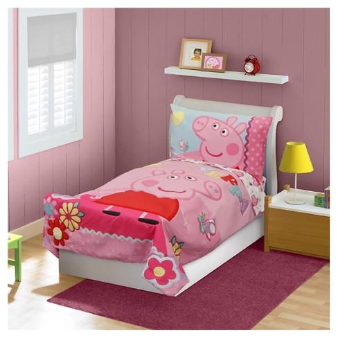 peppa pig 4 pc toddler bed set pink - Toddler Bedding Set