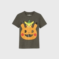 Boys' Short Sleeve Pokemon Pikachu Halloween T-Shirt - Gray