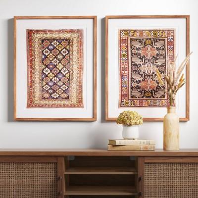 "(Set of 2)24"" x 30"" Caucasian Carpet Azerbaijan Framed Under Glass with Mat - Threshold™"