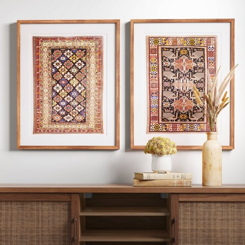 "(Set of 2) 24"" x 30"" Caucasian Carpet Azerbaijan Framed Under Glass with Mat - Threshold™ - image 1 of 4"