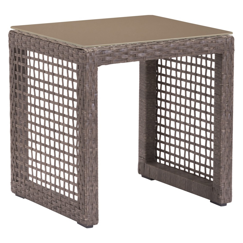 "Image of ""18"""" Modern Cabana Style End Table Cocoa - ZM Home, Brown"""