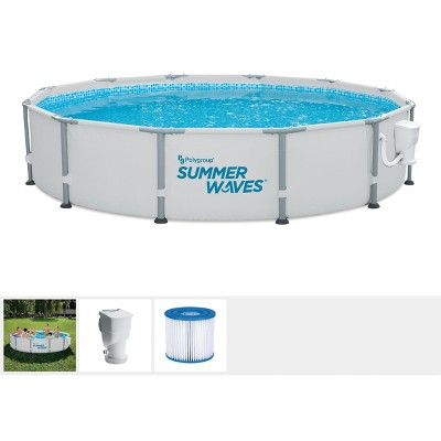 Summer Waves Elite 12 Foot x 30 Inch Metal Frame Outdoor Backyard Above Ground Swimming Pool Set with Filter Pump, Type D Cartridge, and Repair Patch