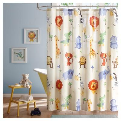 Animals Shower Curtain Blue/ Yellow